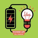 Batteridrift för idé för ljus kula laddande Arkivbild