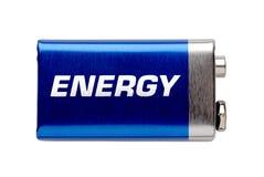 Batterie 9V getrennt auf Weiß mit Zeichenenergie Stockbilder