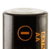 Batterie AA. Negativ Stockfoto