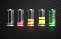 Batterie-Aufladung Batterieaufladungs-Statusanzeige Realistische Energiebatterieglasillustration auf transparentem Lizenzfreie Stockbilder