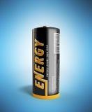 Batterie-Bild der Illustrations-3D mit Beschneidungspfad auf Blau Stockbild
