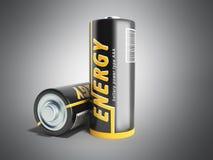 Batterie-Bild der Illustrations-3D mit Beschneidungspfad auf Grau Stockfoto