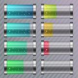 Batterie colorée déchargée et entièrement chargée Photographie stock