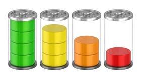 Batterie con il livello della tassa isolato Fotografia Stock Libera da Diritti
