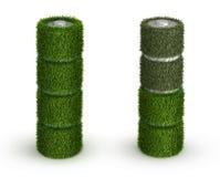 Batterie d'aa de l'herbe avec des cellules et déchargée Photographie stock libre de droits