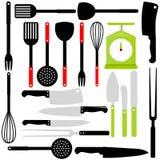 Batterie de cuisine, couteaux, matériels de cuisson Photo libre de droits