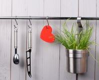 Batterie de cuisine rouge de coeur et de cuisine sur inoxydable Photo libre de droits
