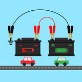 Batterie de début de saut de voiture infographic Photo stock