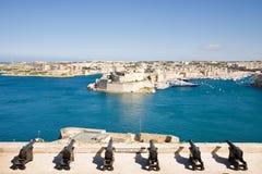 Batterie de salutation, Valletta, Malte image libre de droits
