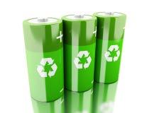 Batterie des Grüns 3d mit der Wiederverwertung des Symbols Stockbilder