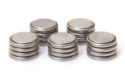 Batterie di litio della moneta Fotografia Stock