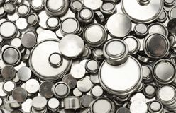 Batterie di litio di vari formati Fotografia Stock