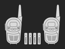 Batterie di spirito dei dispositivi della radio di viaggio Gesso Fotografia Stock