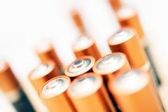 Batterie dorate di aa Fotografia Stock Libera da Diritti
