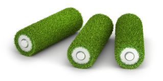 Batterie drei vom Gras Stockfoto