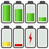 Batterie-Energie-Schauzeichen-Ikonen Lizenzfreie Stockfotos