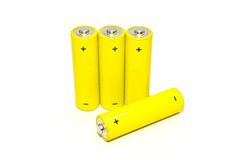 Batterie jaune sur le fond blanc, d'isolement photos stock