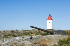 Batterie Landsort Suède d'artillerie côtière Images libres de droits