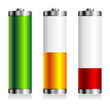 Batterie levels over white Stock Images
