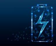 Batterie, polygone, étoiles bleues 2 images stock