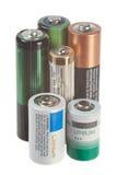 Batterie su bianco Fotografia Stock Libera da Diritti