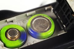 Batterie in una macchina fotografica digitale Fotografia Stock Libera da Diritti