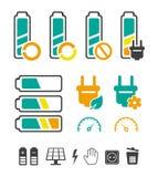 Batterie, welche die Piktogramme eingestellt aufbereitet Lizenzfreie Stockfotos