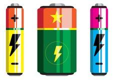 Batterieikone, Batterievektor, Batterieikonen Stockfotos