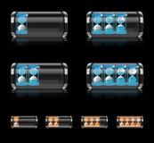 Batterieikone stellte mit Hourglaßvektorformat ein Stockfotos