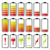 Batterieikonensatz Stockbilder