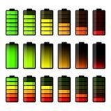 Batterieikonensatz Set Stufenbezeichnungen der Batterieladung Stock Abbildung