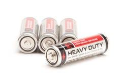 Batterien auf Weiß Stockbilder