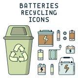 Batterien, die Illustration mit Abfall, Müllcontainer und dem Beschriften aufbereiten stock abbildung