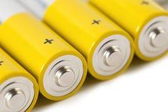 Batterien, lokalisiert auf weißem Hintergrund Lizenzfreies Stockbild