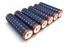 Batterier för sol- energi Arkivbild