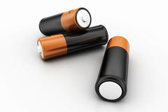 Batterier på vit bakgrund Arkivfoto