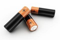 Batterier på vit bakgrund Fotografering för Bildbyråer