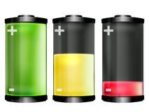 Batteriereihe auf Weiß Stockfoto