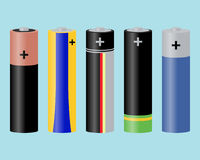 Batteries. Vector illustration of five different AA batteries Royalty Free Stock Images