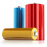 Batteries. Three batteries isolated on white background with reflection on the floor Royalty Free Stock Photos
