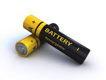 Batteries. Two rechargeable AA batteries isolated on a white background Royalty Free Stock Photo