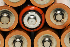 Batteries. Combined together, among  there is one battery of other appearance Stock Image