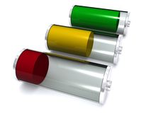 Batteries. Rendering of three batteries, with green, yellow and red indicating full charge, partially charged, low charge Royalty Free Stock Photo