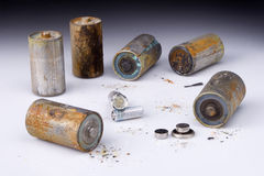 Batteries. Used batteries cause of contamination Stock Photo