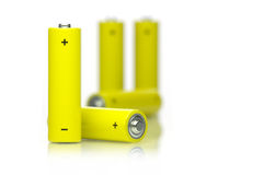 Batteries. Picture of few yellow batteries Royalty Free Stock Photos