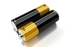 The batteries. Two small batteries on the white background Stock Photos