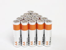 Batteries. Lots of batteries on white background Royalty Free Stock Photos