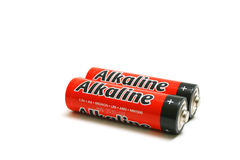 Batteries. Red alkanine batteries for electronic devices royalty free stock photo