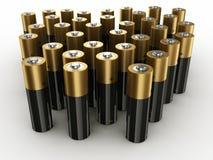 Batteries. 3d rendering of lots of batteries Stock Photos