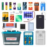 Batteries au lithium réglées illustration libre de droits
